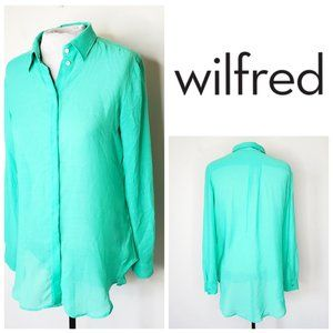 ARITZIA WILFRED Mint Green Flowy Button Down Shirt